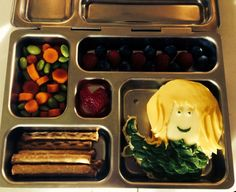 Alyson Hannigan makes her kids' lunches fun for them to eat! Veggies, fruit, pretzel's and a spinach quinoa-shaped mermaid