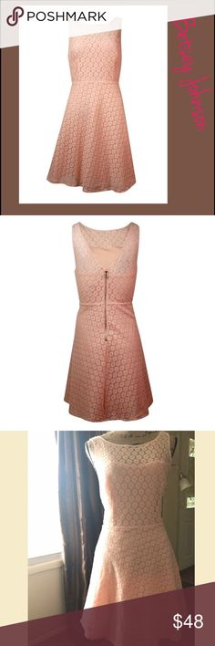 """🆑📦Betsey Johnson Women's Illusion Lace Dress Beautiful Light Coral color Never worn"""" Spring Easter Sunday Dress. The dress features full lining, illusion neckline, V-back, sleeveless, lace overlay, A-line silhouette, and exposed back zipper closure. - Full lining: 100% Polyester - 100% Nylon, 100% Polyester Exposed back zipper Illusion neckline Lace overlay A-Line silhouette Betsey Johnson Dresses Midi"""
