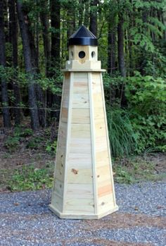 lawn lighthouse made from treated wood