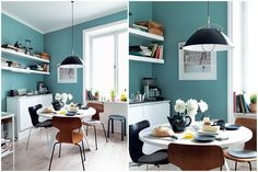 Turquoise walls, white shelves