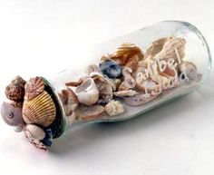 Beach in a Jar: Pretty way to display all the sea shells you collect on vacation.