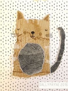 Beige cat - made with torn papers and then illustrated