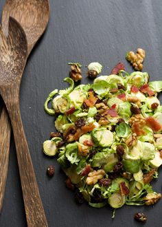 Shaved Brussels Sprout Salad With Raisins and Maple Dijon Vinaigrette | 23 Incredible Salads You'll Actually Want To Eat