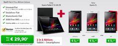 Sony Tablet Z 16GB LTE (wasserdichtes Tablet) + Sony Xperia ZL für zusammen 720€ (Vergleichspreis: 920€) - durch einen Handyvertrag - myDeal...