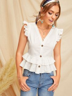 Shein Button Through Tiered Ruffle Peplum Top Blouse Styles, Blouse Designs, Look Star, Mode Chic, Summer Shirts, Ladies Dress Design, Types Of Sleeves, Blouses For Women, Women's Blouses