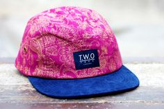 The Worlds Original Face  TWO Face London3rd Edition 5 panel cap, hat- Navy blue box logo - fuchsia and gold paisley floral cotton- Navy blue suede peak- Black leather white stitched strap