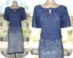 Vintage 70s Blousey Navy Polka Dot Summer Dress by IntrigueU4Ever, $24.99