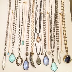 One of a kind necklaces by Lisa Jill Jewelry. Bohemian Jewelry, Vintage Jewelry, Handmade Jewelry, Diy Necklace, Crystal Necklace, Necklace Ideas, Tassel Necklace, Jewelery, Jewelry Necklaces