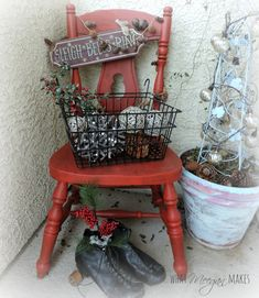 Fun Christmas porch idea from Meegan Makes - set a basket full of pinecones and natural elements on a colorful chair. Primitive Christmas, Country Christmas, Christmas Home, Christmas Holidays, Christmas Crafts, Christmas Ideas, Christmas Stuff, Merry Christmas, Candy Cane Crafts