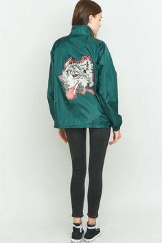 Urban Renewal Vintage Customised Wolf Print Green Nylon Jacket