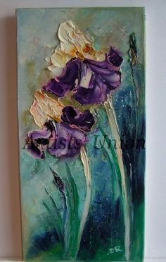 http://www.ebay.com/itm/Purple-Irises-Impasto-Original-Oil-Painting-Palette-Knife-Art-Flowers-EU-Artist-/281987671395