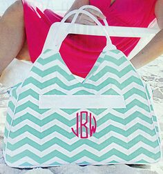 """Chevron (or as the hubby calls it - """"zigzag"""") Beach Bag! #gorgeous  #monogrammed"""