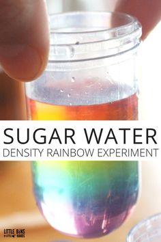 Rainbow In A Jar: Water Density Experiment Sugar water density rainbow science experiment for kids. Fun and simple kids science experiment using sugar and water and food coloring. Kitchen science you can do anytime. Kitchen Science, Science Activities For Kids, Preschool Science, Science For Kids, Stem Activities, Summer Science, Science Fun, Chemistry For Kids, Sound Science