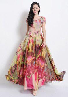 Sweetheart Neckline Puffed Half Sleeve Long Dress