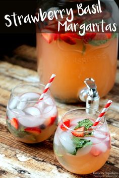 Strawberry Basil Margaritas - Only FOUR ingredients in these amazingly delicious Strawberry Margaritas! I make these for every event and they are always a HUGE hit!