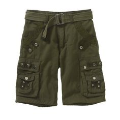 Repair Boys' Cargo Shorts, Available in Size 8 - 18, Size: 16, Green