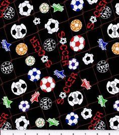 "Novelty Cotton Fabric 43""-Soccerball"