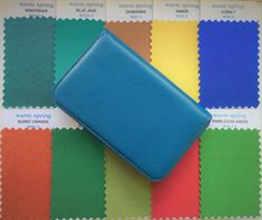 Warm Spring Fabric Swatches in faux leather case. Your top ten colours in 7cms x 5cms swatches making shopping easy. More warm spring swatches available. #warmspring #colourswatches #colourpalette