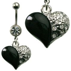 Multi Jewel Heart with Black Design Dangle Belly Ring Surgical Steel