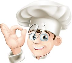 iCLIPART - Illustration of a happy smiling cartoon chef in a chef hat