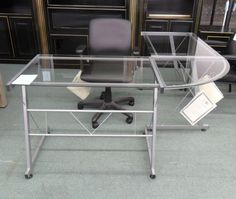 glass lshape desk - Glass L Shaped Desk