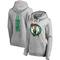 Women s Boston Celtics Kyrie Irving Fanatics Branded Gray Backer Name  amp  Number  Pullover Hoodie Boston 6c1cfb907