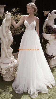 A-linie Schöne Modische Brautkleider aus Tüll mit Applikation