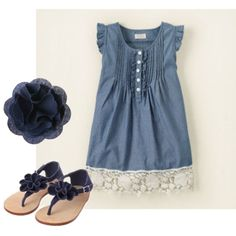 Summer Blues -- Cute chambray and lace dress for my little girl.  Love the navy sandals and hair clip too!