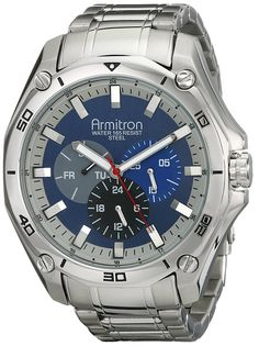 Armitron Men's 20/4941BLSV Stainless Steel Silver-Tone Multi-Function Bracelet Watch -- See this great product.