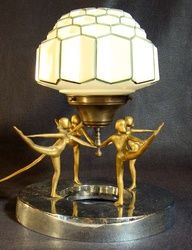 Art Deco jewelry store counter lamp with figural dancers and honeycomb shade