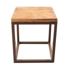 """A lovely side table that was constructed fro reclaimed Elm doors for the tops. Iron base. Height: 21"""" Length: 18"""" Width: 18"""""""