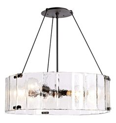 """Willamette Large Fluted Glass Chandelier 32"""" Diameter A0641 / max length 80"""""""