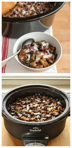 Slow Cooker Cheesy Panade with Swiss Chard, Beans, and Sausage from The Kitchn is kind of like a savory bread pudding that cooks all day in the crockpot.  Sounds delicious. [Featured on SlowCookerFromScratch.com] #SlowCookerFromScratch #CrockPot #CookAllDay