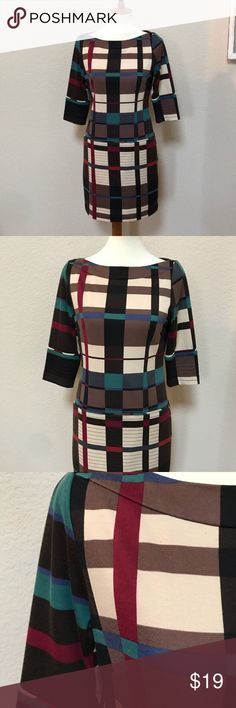 Jessica Simpson geometric dress - size 6 Fun earth tone dress with geometric print.  1/2 sleeves and back zipper.  This was one of my favorite work dresses last winter;  paired with tall brown boots for a mod flair! Jessica Simpson Dresses