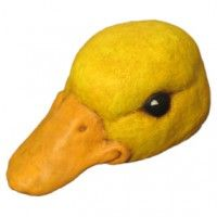 """Paper mache duck hat mask. This would be a great project for grandma to make for a toddler. It's from the book """"How to Make Masks"""" by Jonni Good."""