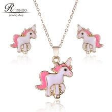 Cute Pink Pig Children Jewelry Set Pendant Necklace With Earrings