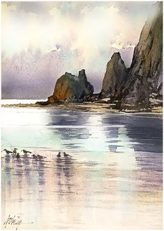 """Morning; Cannon Beach - Oregon"" Thomas W Schaller - Watercolor Sketch. 18x12…"