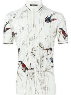 DOLCE & GABBANA Bird Print Polo Shirt. #dolcegabbana #cloth #shirt