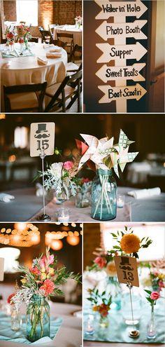 Hey! Mason jar wedding florals! Plus, I love the signs.