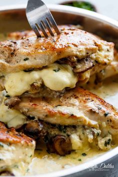 Garlic Butter Mushroom Stuffed Chicken - Cafe Delites - Huhn Rezepte - Chicken recipes -Cheesy Garlic Butter Mushroom Stuffed Chicken - Cafe Delites - Huhn Rezepte - Chicken recipes - You've never seen a tortilla like this before. Creamy Garlic Parmesan Sauce, Chicken Parmesan Recipes, Chicken Salad Recipes, Recipe Chicken, Stuffed Chicken Recipes, Healthy Stuffed Chicken, Cheese Stuffed Chicken, Meatball Recipes, Healthy Dinner Recipes