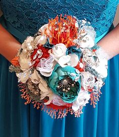 Hand made bridal bouquet by Serket Jewelry