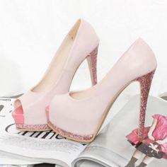 Sandalias Boquita de Pez Princesa Rosa Pastel con Glitter en Taco y Suela