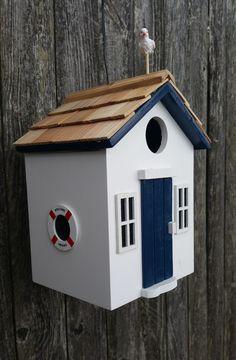 Beach Hut Birdhouse - White