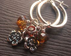 Red Magma & Copper Swarovski Crystal and Sterling by PiedBeauty, $43.00