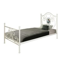 METAL SINGLE BED IN ANTIQUE WHITE COLOR 200Χ98Χ122 (90X192) - Beds - FURNITURE - inart