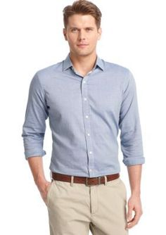 IZOD  Long Sleeve Texture Solid Woven