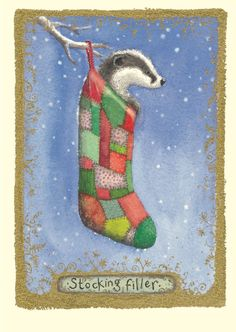 Stocking Filler Christmas card by Fran Evans. Two Bad Mice have wide range of Badger Greeting cards by a variety of contemporary artists. Badger Illustration, Illustration Art, Xmas Cards, Greeting Cards, Winter Magic, Easter Art, Christmas Tag, Pet Birds, Art For Kids