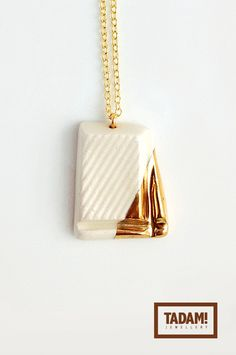White Chocolate in Golden Glaze - quality handmade ceramic pendant necklace with gold over sterling silver chain