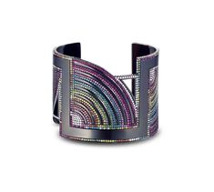 A cuff set with Diamonds, pink Sapphires and precious stones in blackened 18ct white gold #SolangeAzagury