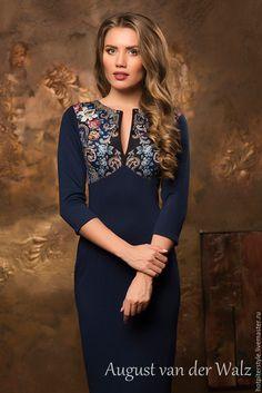 Купить Платье футляр в Русском стиле - А-ля Русс - тёмно-синий, однотонный